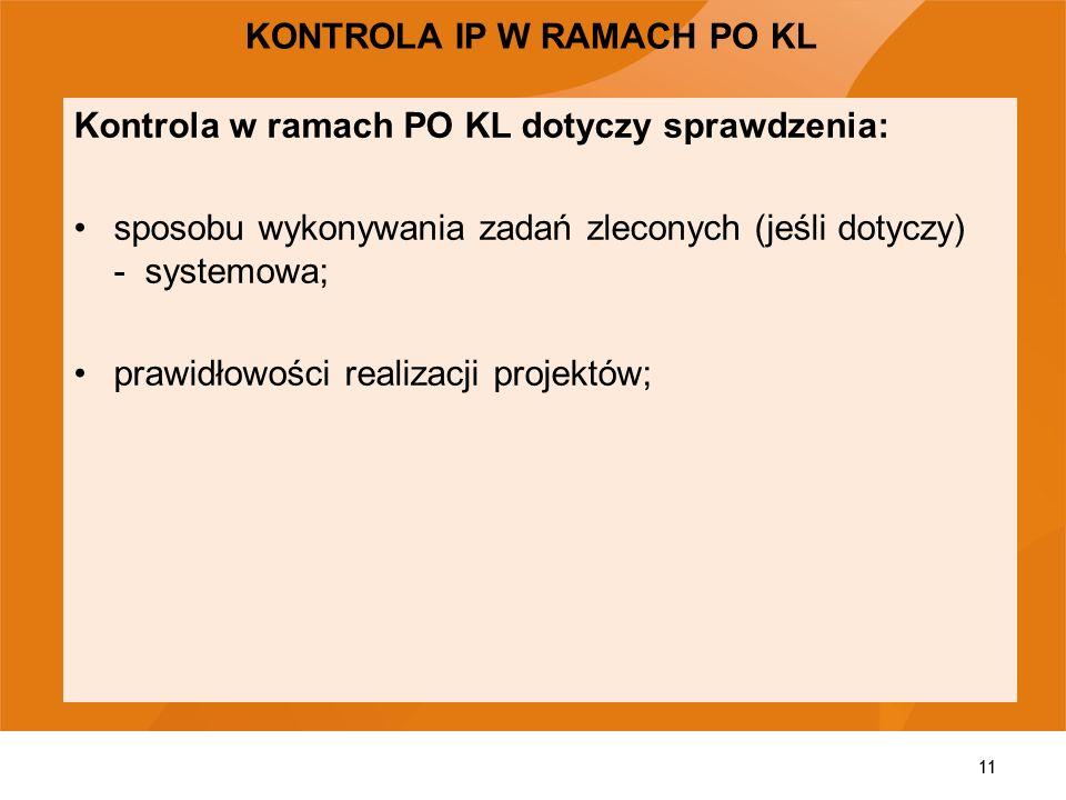 KONTROLA IP W RAMACH PO KL