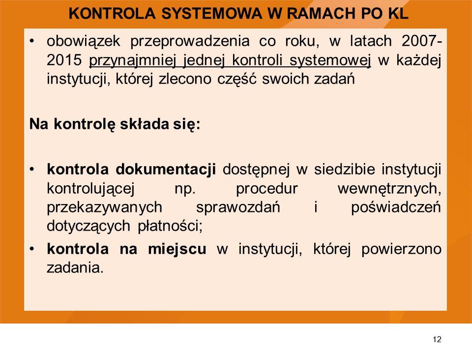KONTROLA SYSTEMOWA W RAMACH PO KL