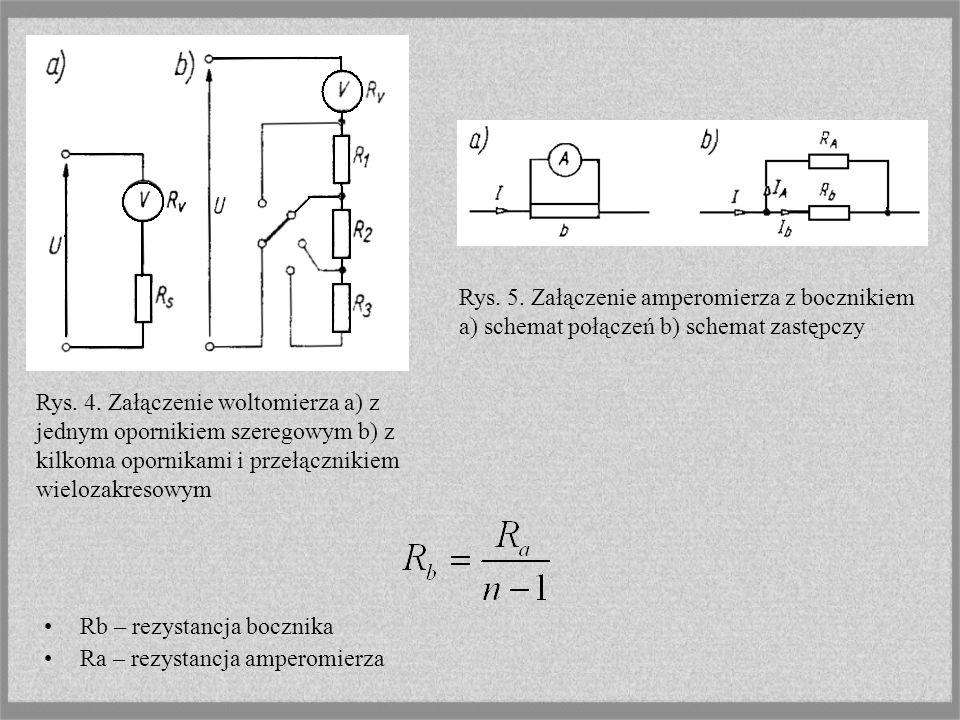 Rys. 5. Załączenie amperomierza z bocznikiem a) schemat połączeń b) schemat zastępczy