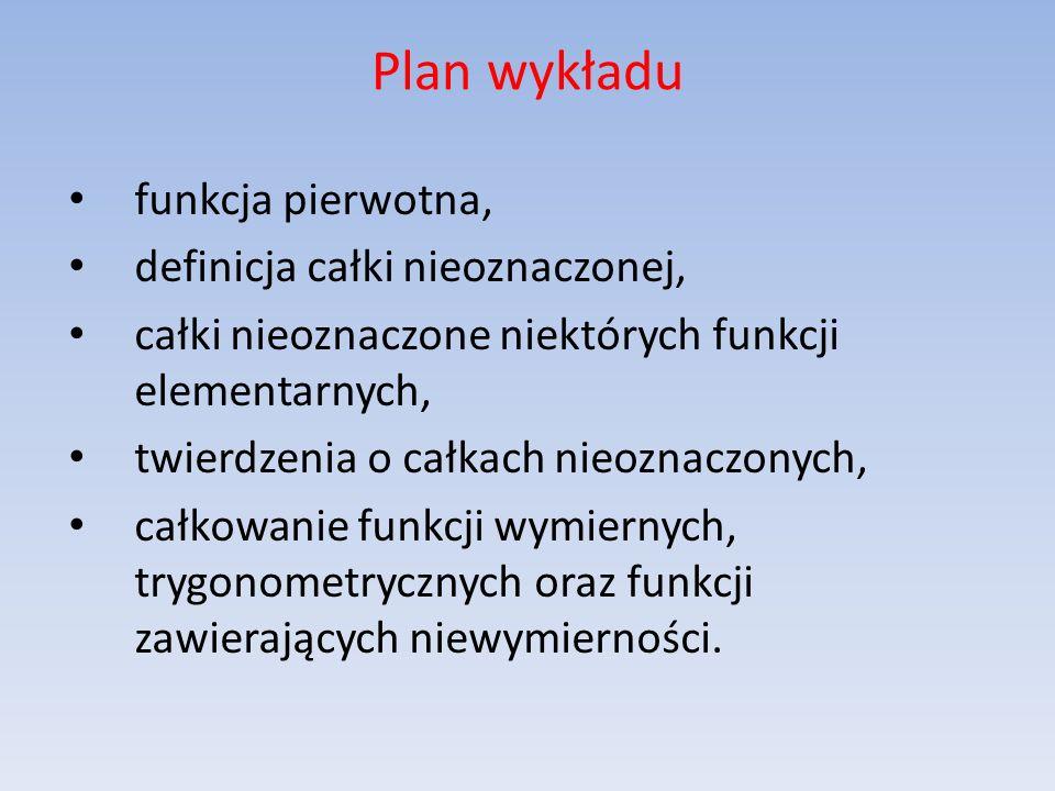Plan wykładu funkcja pierwotna, definicja całki nieoznaczonej,