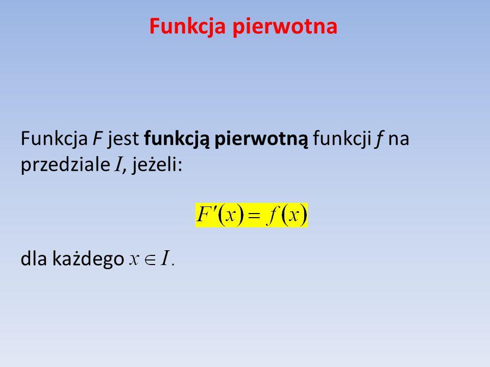 Funkcja pierwotna Funkcja F jest funkcją pierwotną funkcji f na przedziale I, jeżeli: dla każdego