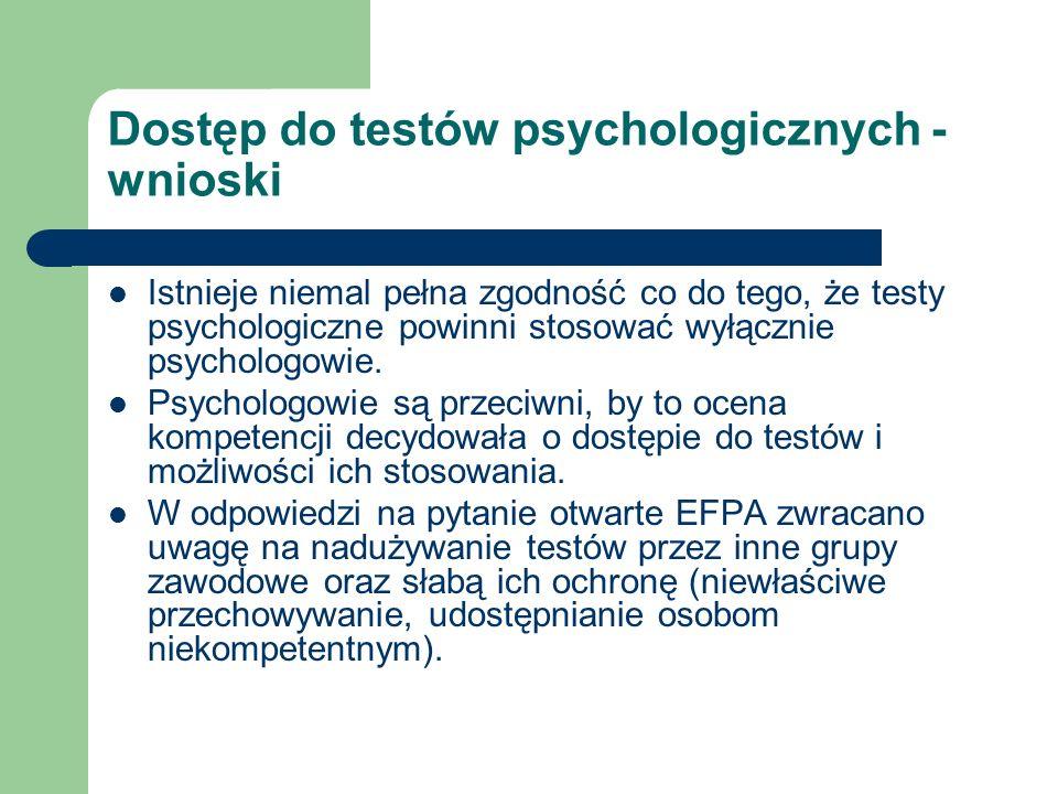 Dostęp do testów psychologicznych - wnioski