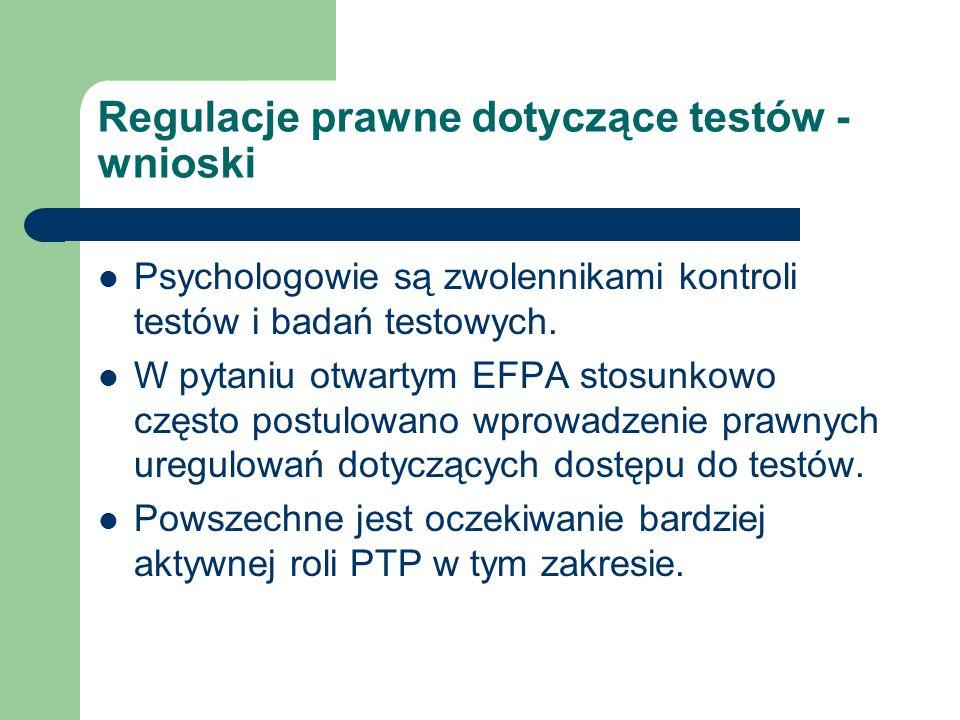 Regulacje prawne dotyczące testów - wnioski