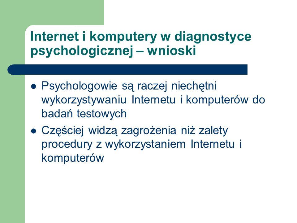 Internet i komputery w diagnostyce psychologicznej – wnioski