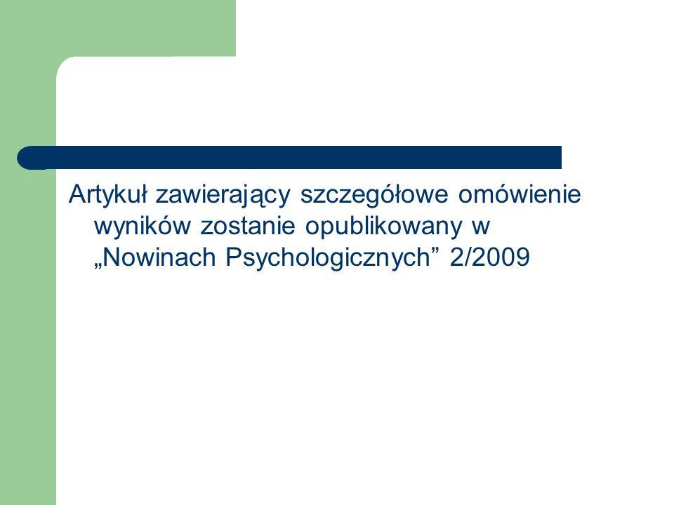 """Artykuł zawierający szczegółowe omówienie wyników zostanie opublikowany w """"Nowinach Psychologicznych 2/2009"""