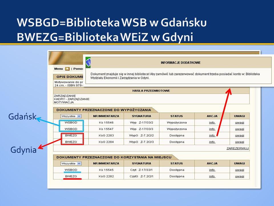 WSBGD=Biblioteka WSB w Gdańsku BWEZG=Biblioteka WEiZ w Gdyni