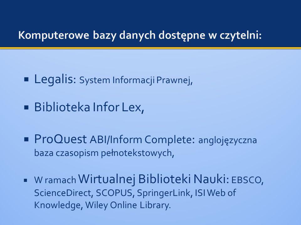 Komputerowe bazy danych dostępne w czytelni: