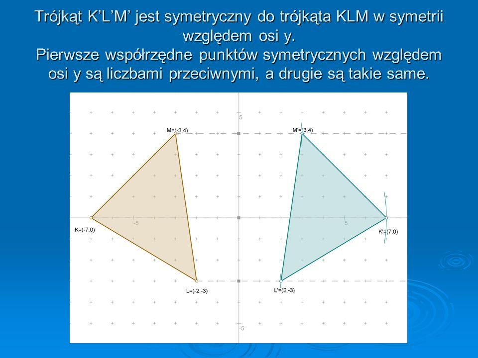 Trójkąt K'L'M' jest symetryczny do trójkąta KLM w symetrii względem osi y.