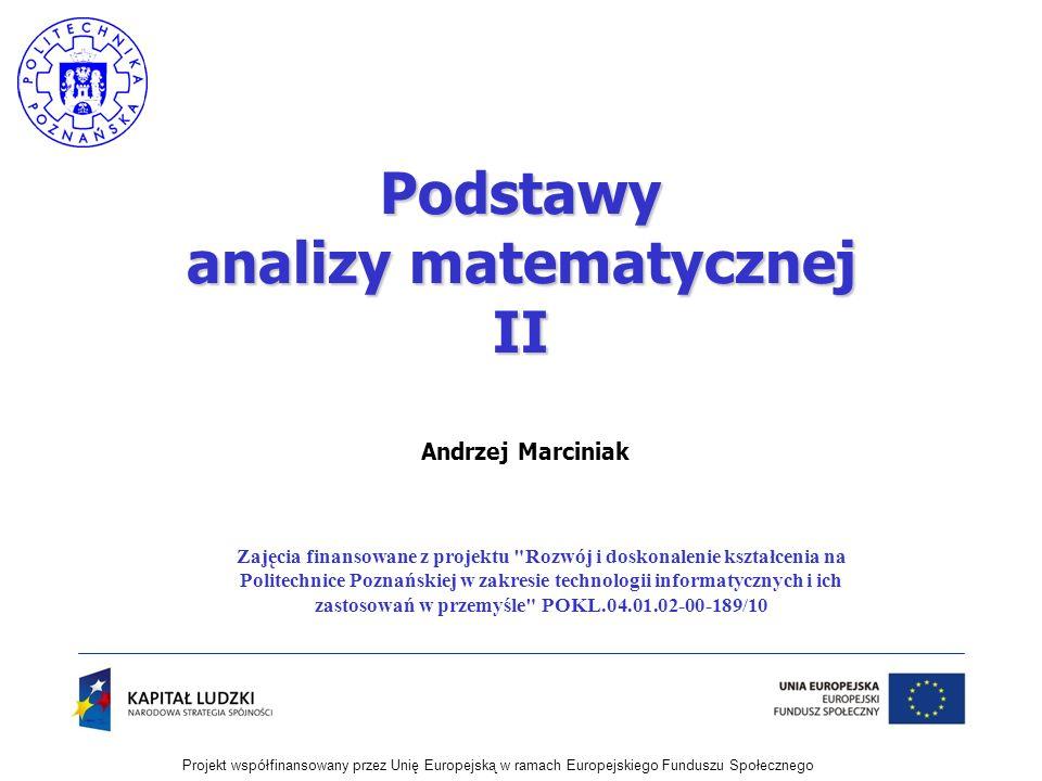 Podstawy analizy matematycznej II