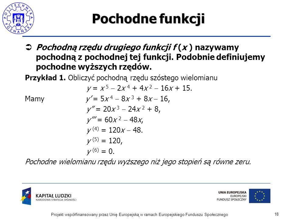 Pochodne funkcji Pochodną rzędu drugiego funkcji f (x ) nazywamy pochodną z pochodnej tej funkcji. Podobnie definiujemy pochodne wyższych rzędów.