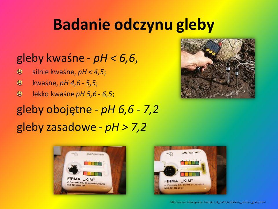 Badanie odczynu gleby gleby kwaśne - pH < 6,6,