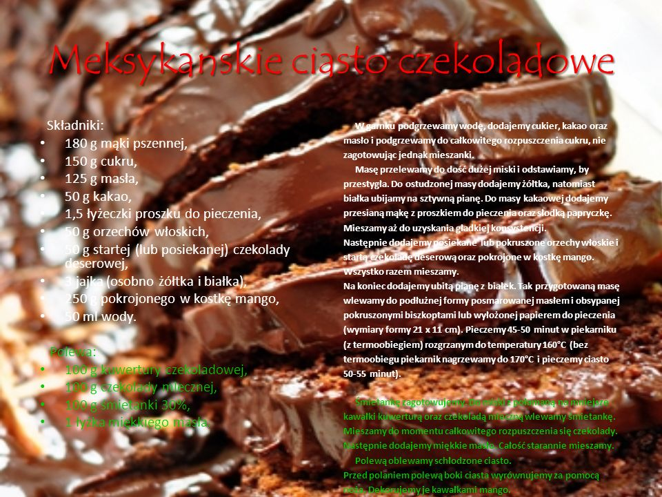 Meksykanskie ciasto czekoladowe