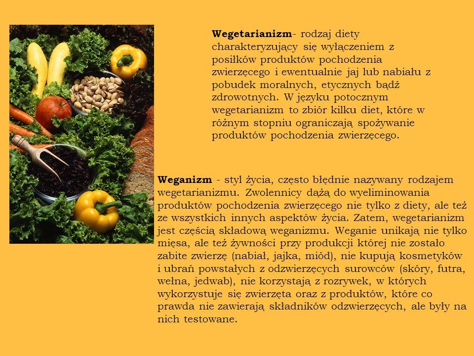 Wegetarianizm- rodzaj diety charakteryzujący się wyłączeniem z posiłków produktów pochodzenia zwierzęcego i ewentualnie jaj lub nabiału z pobudek moralnych, etycznych bądź zdrowotnych. W języku potocznym wegetarianizm to zbiór kilku diet, które w różnym stopniu ograniczają spożywanie produktów pochodzenia zwierzęcego.