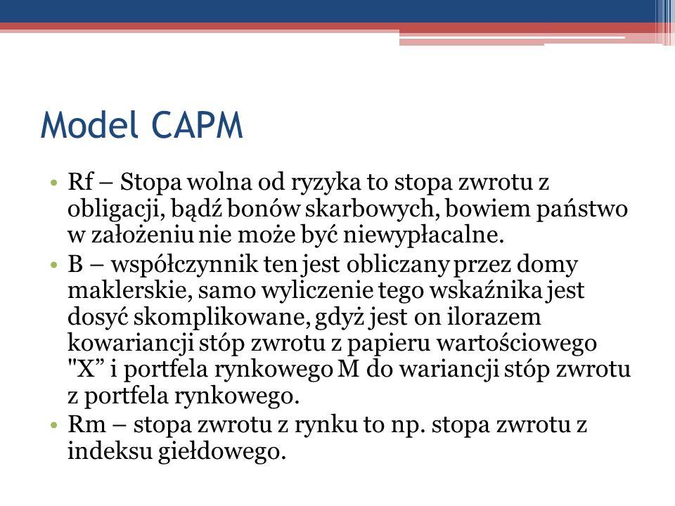 Model CAPMRf – Stopa wolna od ryzyka to stopa zwrotu z obligacji, bądź bonów skarbowych, bowiem państwo w założeniu nie może być niewypłacalne.