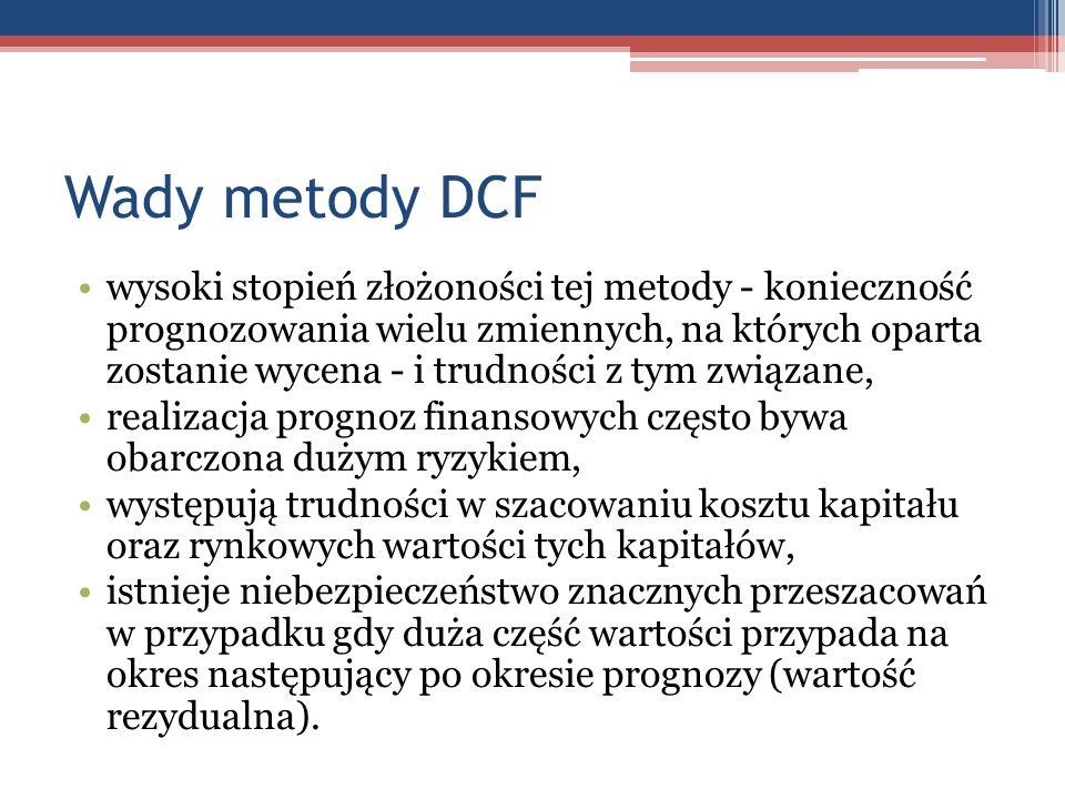 Wady metody DCF