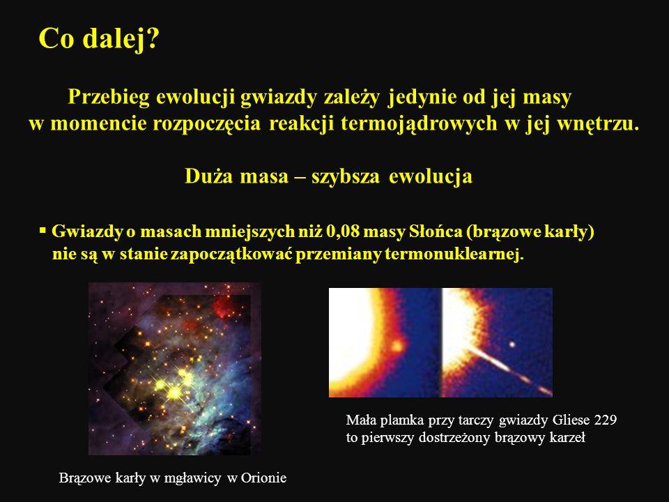 Co dalej Przebieg ewolucji gwiazdy zależy jedynie od jej masy w momencie rozpoczęcia reakcji termojądrowych w jej wnętrzu.