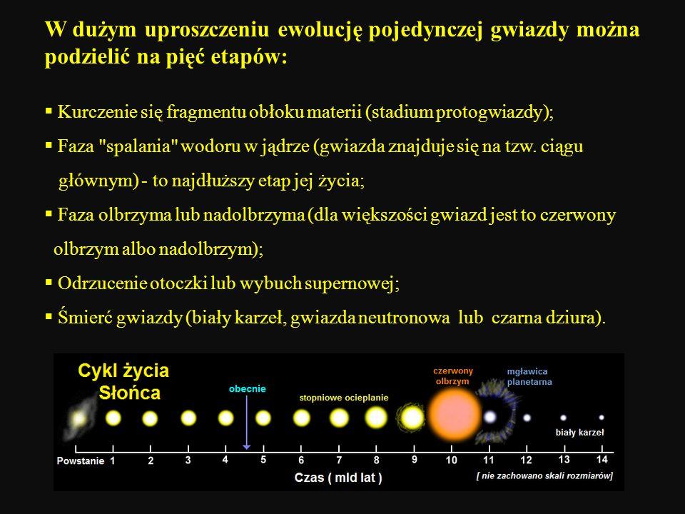 W dużym uproszczeniu ewolucję pojedynczej gwiazdy można podzielić na pięć etapów: