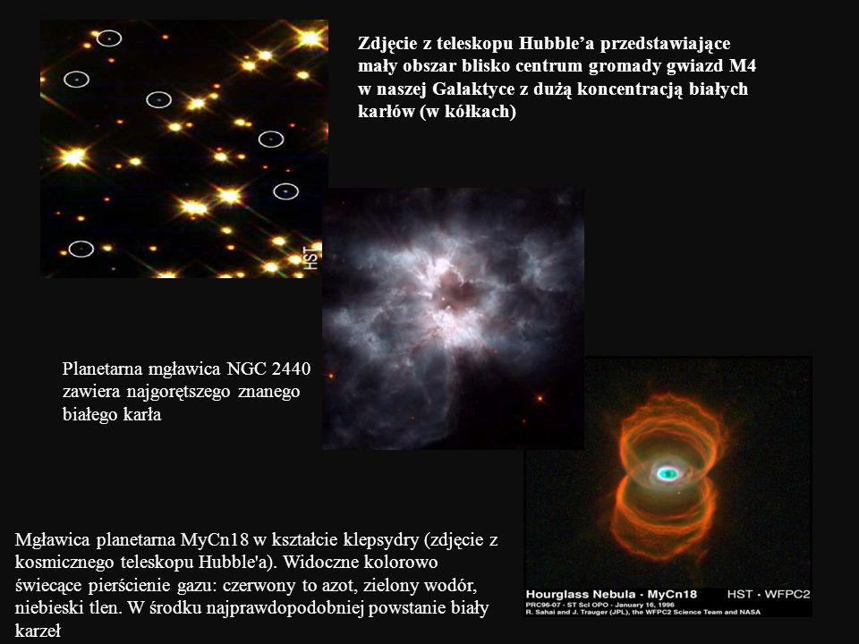 Zdjęcie z teleskopu Hubble'a przedstawiające mały obszar blisko centrum gromady gwiazd M4 w naszej Galaktyce z dużą koncentracją białych karłów (w kółkach)
