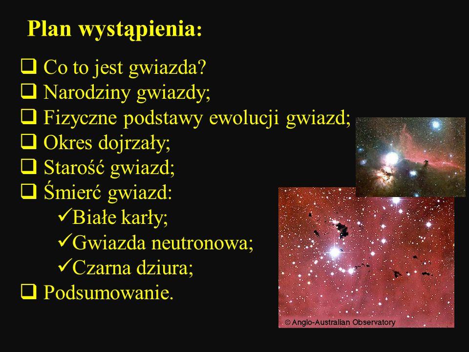 Plan wystąpienia: Co to jest gwiazda Narodziny gwiazdy;