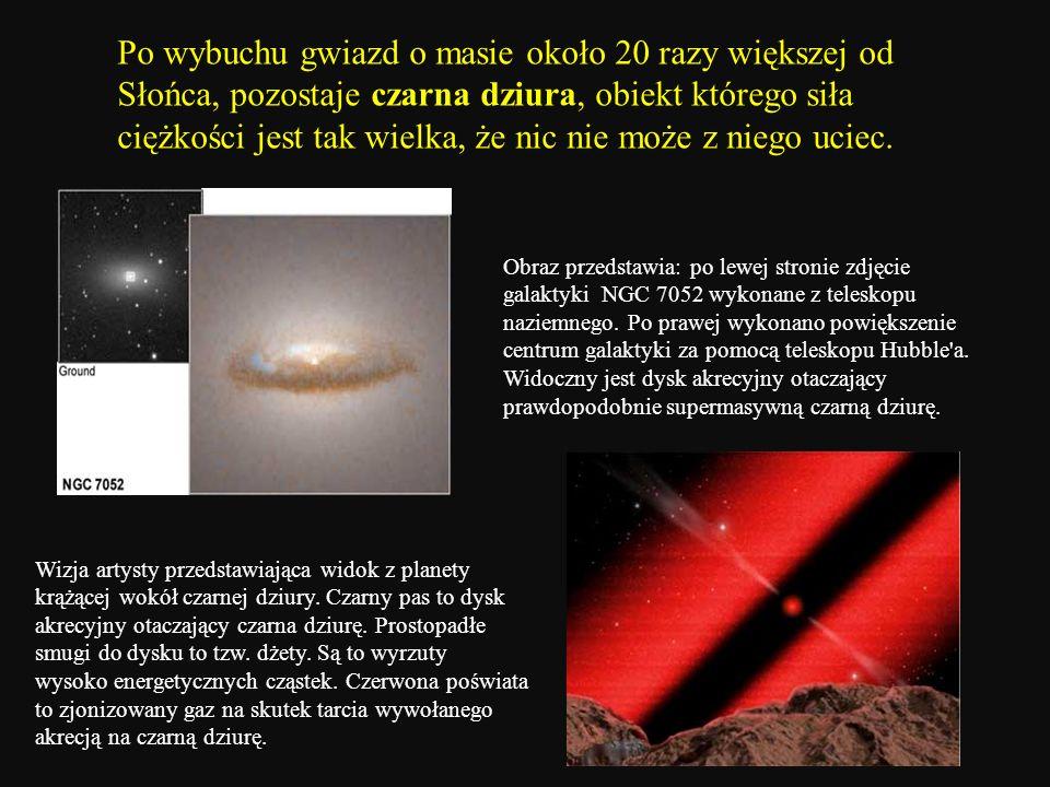 Po wybuchu gwiazd o masie około 20 razy większej od Słońca, pozostaje czarna dziura, obiekt którego siła ciężkości jest tak wielka, że nic nie może z niego uciec.
