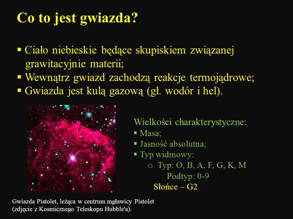 Co to jest gwiazda Ciało niebieskie będące skupiskiem związanej grawitacyjnie materii; Wewnątrz gwiazd zachodzą reakcje termojądrowe;