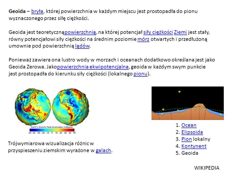 Geoida – bryła, której powierzchnia w każdym miejscu jest prostopadła do pionu wyznaczonego przez siłę ciężkości.