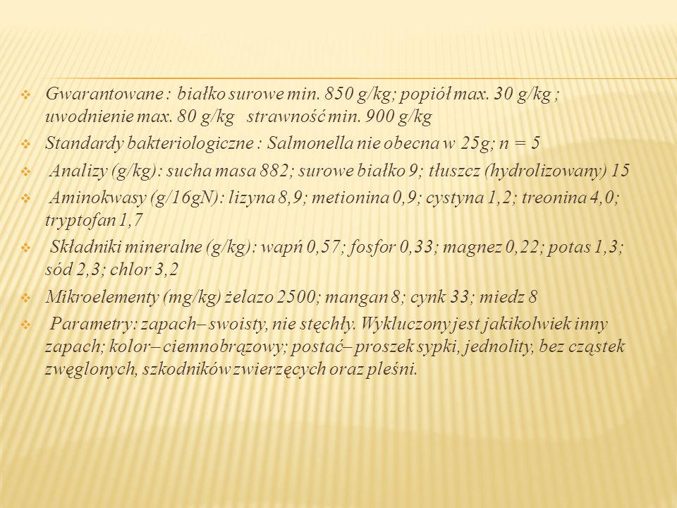 Gwarantowane : białko surowe min. 850 g/kg; popiół max
