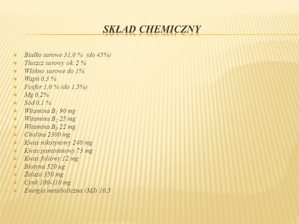 SKŁAD CHEMICZNY Białko surowe 31,0 % (do 45%) Tłuszcz surowy ok. 2 %