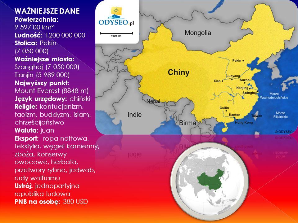 WAŻNIEJSZE DANE Powierzchnia: 9 597 00 km² Ludność: 1200 000 000