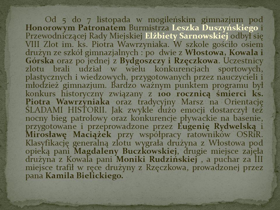 Od 5 do 7 listopada w mogileńskim gimnazjum pod Honorowym Patronatem Burmistrza Leszka Duszyńskiego i Przewodniczącej Rady Miejskiej Elżbiety Sarnowskiej odbył się VIII Zlot im.