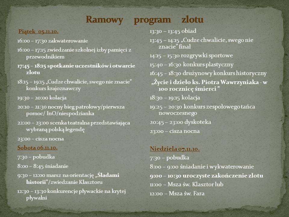 Ramowy program zlotu Piątek 05.11.10. 16:00 – 17:30 zakwaterowanie. 16:00 – 17:15 zwiedzanie szkolnej izby pamięci z przewodnikiem.