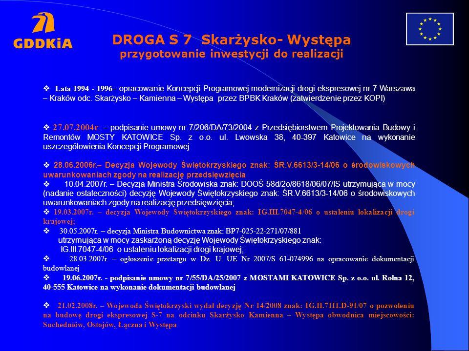 DROGA S 7 Skarżysko- Występa przygotowanie inwestycji do realizacji
