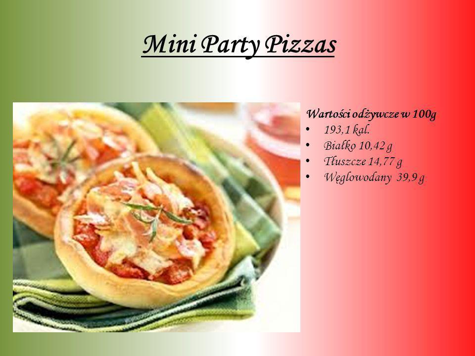 Mini Party Pizzas Wartości odżywcze w 100g 193,1 kal. Białko 10,42 g