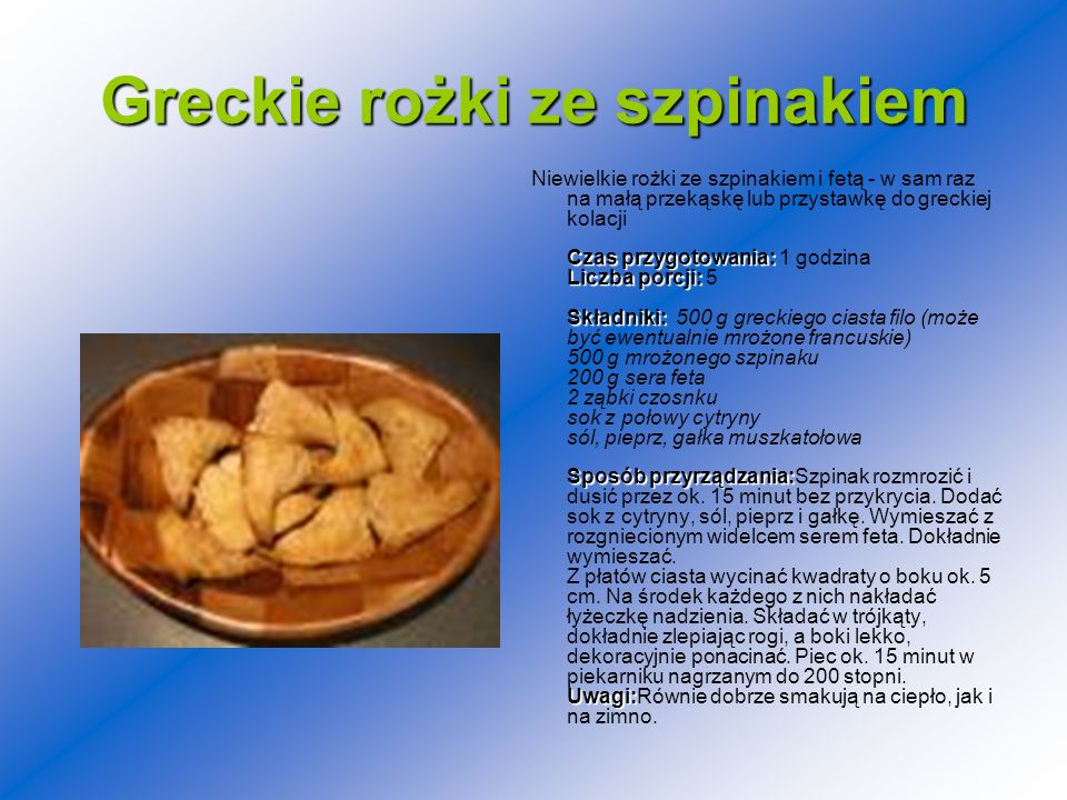 Greckie rożki ze szpinakiem
