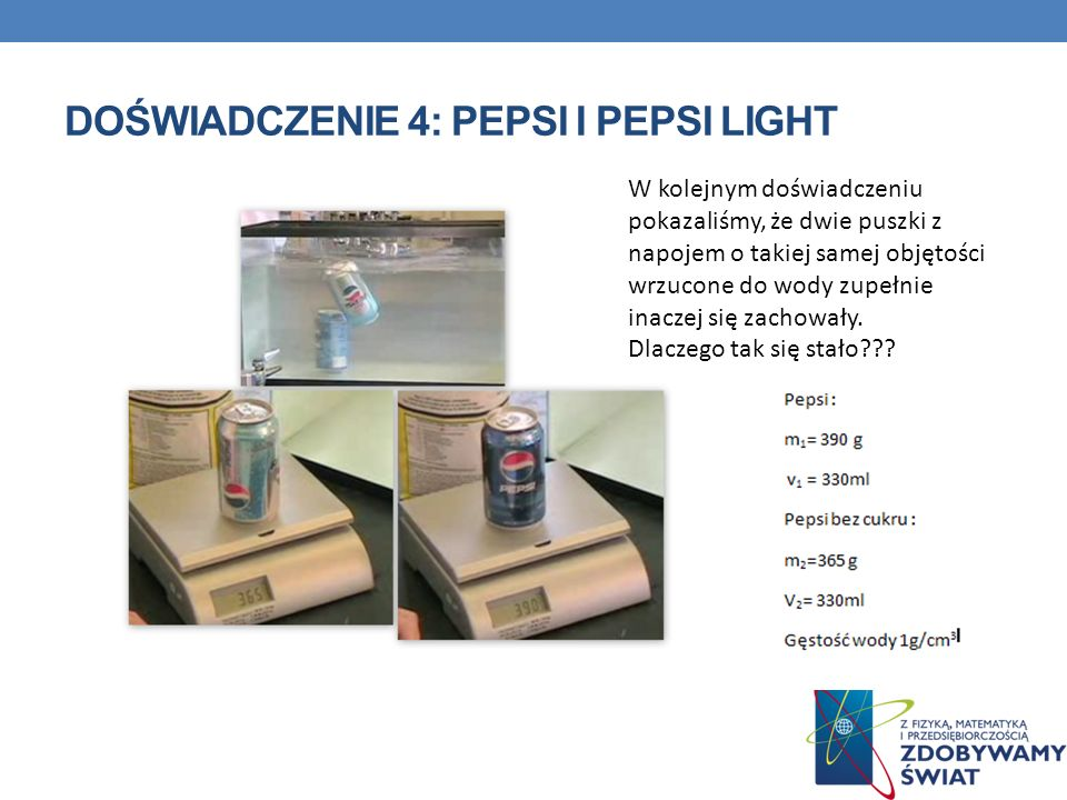 Doświadczenie 4: Pepsi i pepsi light