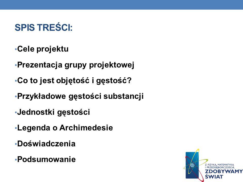 Spis Treści: Cele projektu Prezentacja grupy projektowej