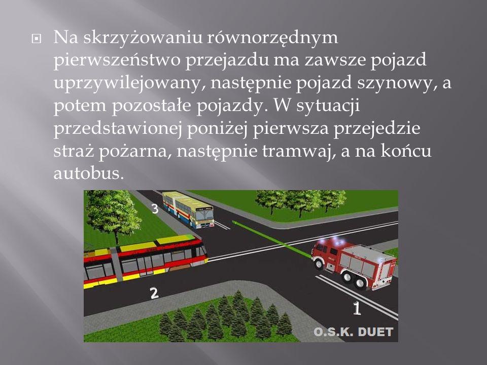 Na skrzyżowaniu równorzędnym pierwszeństwo przejazdu ma zawsze pojazd uprzywilejowany, następnie pojazd szynowy, a potem pozostałe pojazdy.