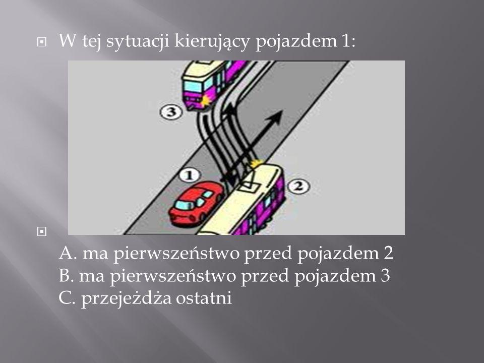 W tej sytuacji kierujący pojazdem 1: