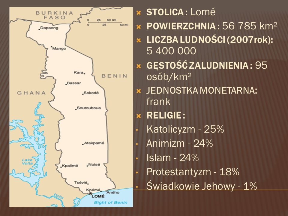 Katolicyzm - 25% Animizm - 24% Islam - 24% Protestantyzm - 18%