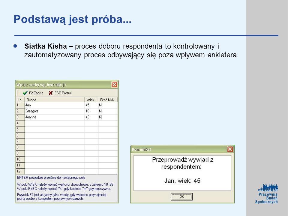 Podstawą jest próba...Siatka Kisha – proces doboru respondenta to kontrolowany i zautomatyzowany proces odbywający się poza wpływem ankietera.