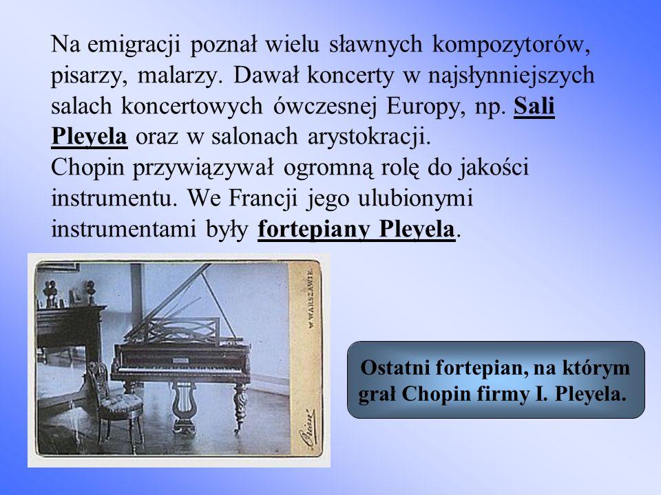 Ostatni fortepian, na którym grał Chopin firmy I. Pleyela.