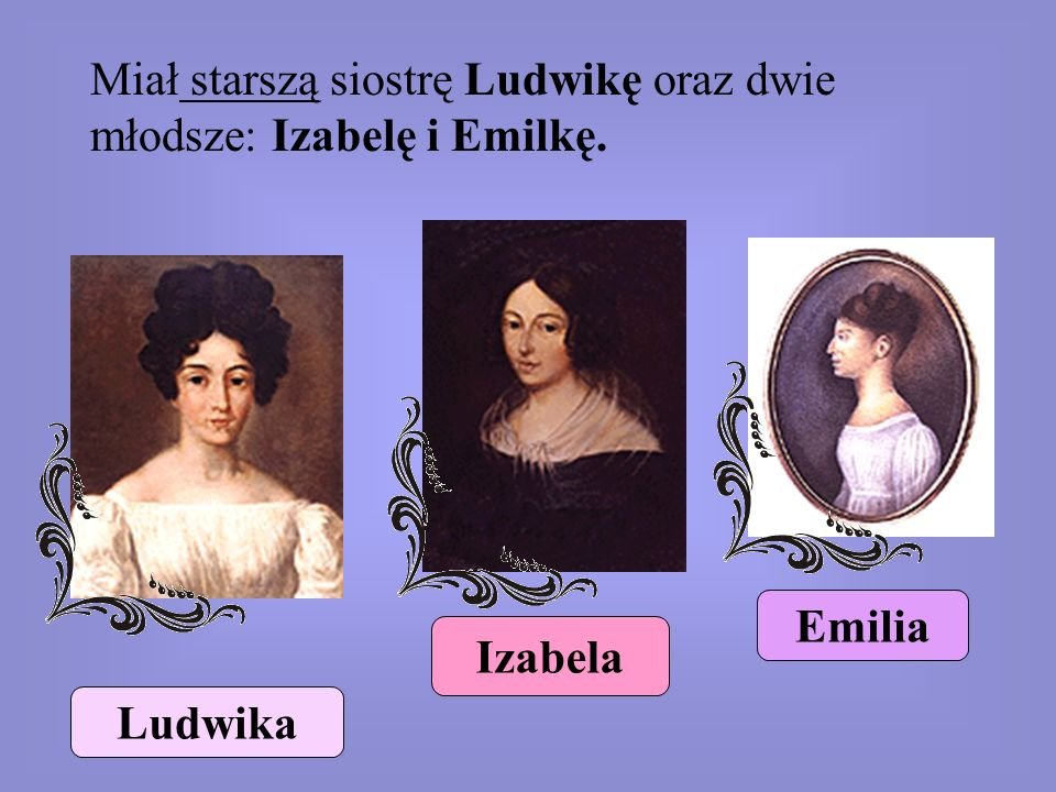 Miał starszą siostrę Ludwikę oraz dwie młodsze: Izabelę i Emilkę.