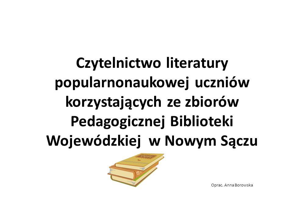 Czytelnictwo literatury popularnonaukowej uczniów korzystających ze zbiorów Pedagogicznej Biblioteki Wojewódzkiej w Nowym Sączu