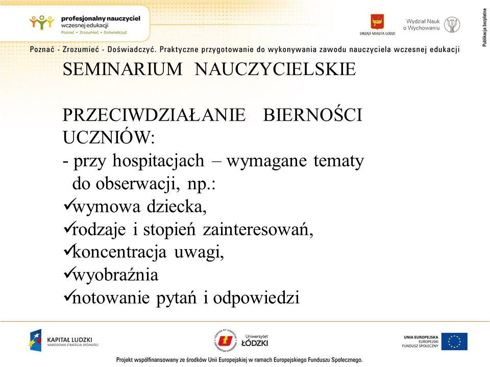 SEMINARIUM NAUCZYCIELSKIE