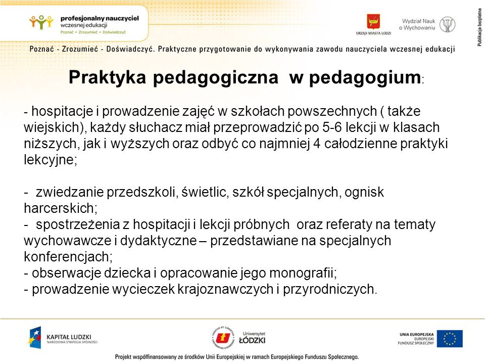 Praktyka pedagogiczna w pedagogium: