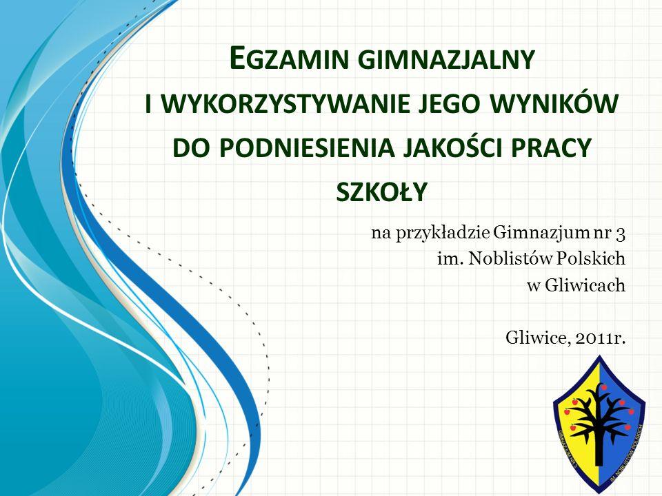 Egzamin gimnazjalny i wykorzystywanie jego wyników do podniesienia jakości pracy szkoły