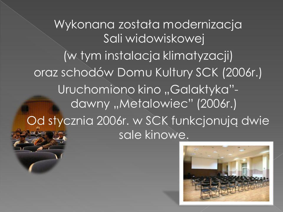 """Wykonana została modernizacja Sali widowiskowej (w tym instalacja klimatyzacji) oraz schodów Domu Kultury SCK (2006r.) Uruchomiono kino """"Galaktyka - dawny """"Metalowiec (2006r.) Od stycznia 2006r."""