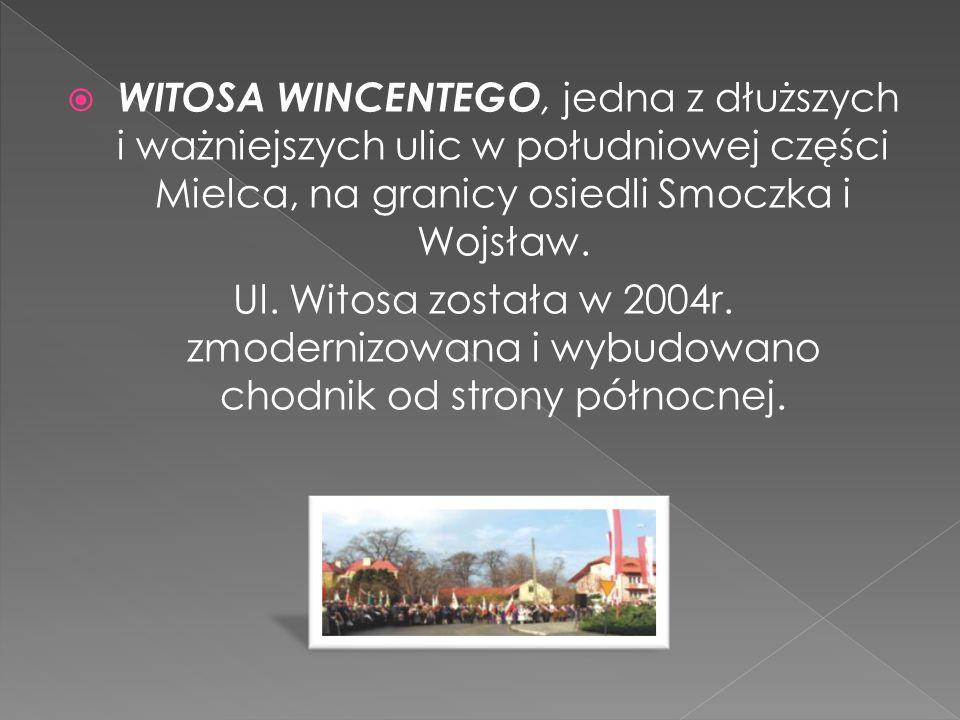WITOSA WINCENTEGO, jedna z dłuższych i ważniejszych ulic w południowej części Mielca, na granicy osiedli Smoczka i Wojsław.