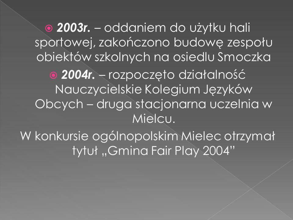 """W konkursie ogólnopolskim Mielec otrzymał tytuł """"Gmina Fair Play 2004"""