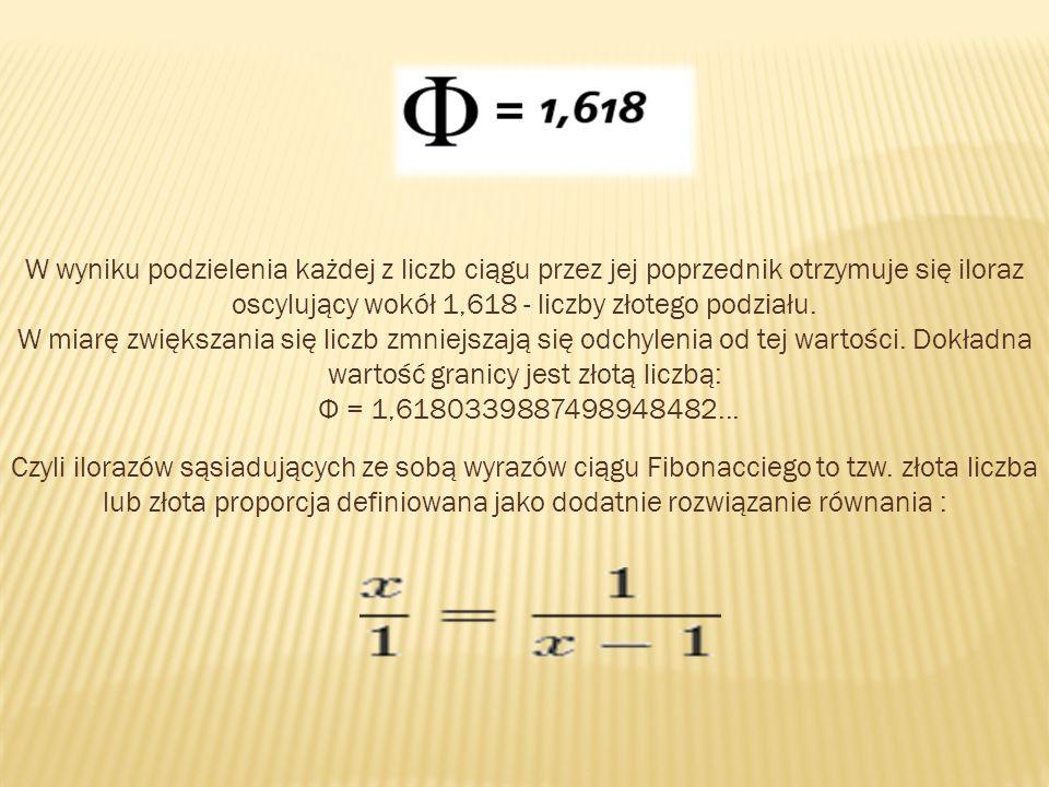 W wyniku podzielenia każdej z liczb ciągu przez jej poprzednik otrzymuje się iloraz oscylujący wokół 1,618 - liczby złotego podziału.